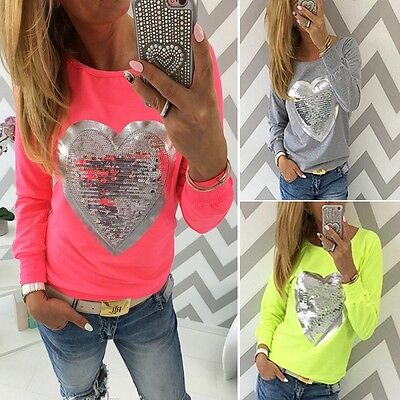 New Fashion Womens Ladies Glitter Casual Long Sleeve Tops Loose T-shirt Blouse