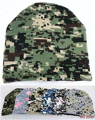 Bulk lot of 48 Assorted Digital Camo Camouflage Winter Knit Beanie Hats