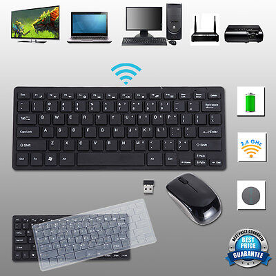 Slim Black 2.4GHz Cordless Wireless Keyboard and Mouse Set For PC Desktop Laptop