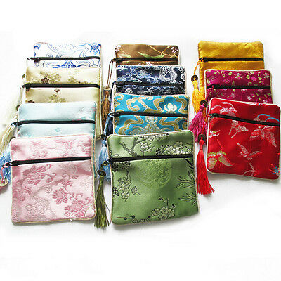 10X Mix Colors Chinese Zipper Coin Tassel Silk Square Jewelry Bags Pouches EF