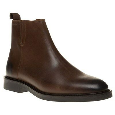 New Mens Gant Brown Spencer Zip Leather Boots
