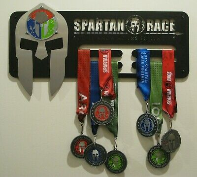 Spartan Race Trifecta medal display rack, holder, black or brushed INOX steel