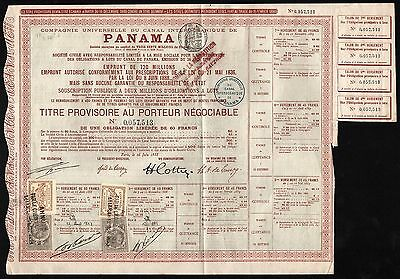 1888 Panama Canal Bond - with 4 coupons & 4 revenue stamps