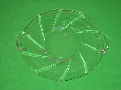 Vintage Glass Crystal Clear Round Candy Nut Bowl Dish Swirl Design with Handles