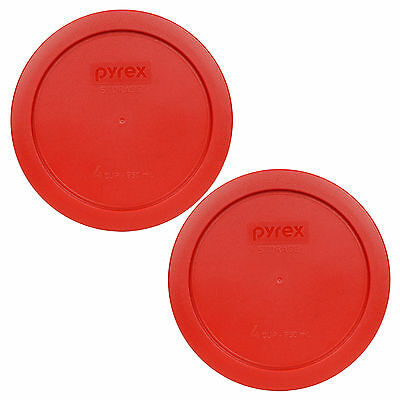 """Pyrex 7201-PC 6"""" Dark Red Round Plastic Cover Lid New for 4 Cup Glass Bowl 2PK"""