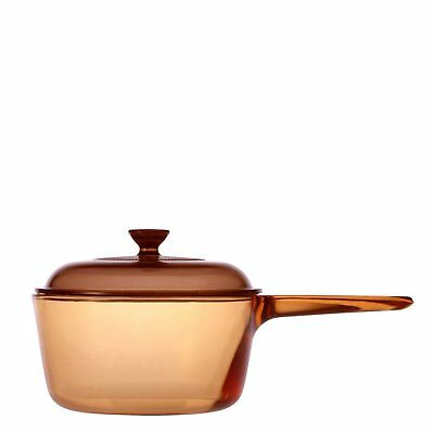 Visions Saucepan Covered With Glass Lid Cooking Pot, 1L, Amber