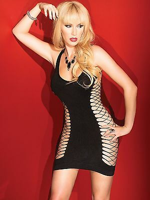 COQUETTE 2423 sexy Spitze Minikleid Bodycon Body Fischnetz Catsuit Gogo Party De