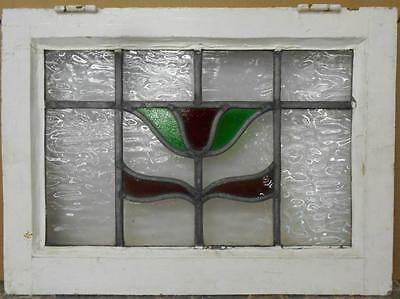 "OLD ENGLISH LEADED STAINED GLASS WINDOW Pretty Floral Design 20.5"" x 15"""