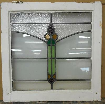 """OLD ENGLISH LEADED STAINED GLASS WINDOW Pretty Abstract Design 20.25"""" x 20"""""""