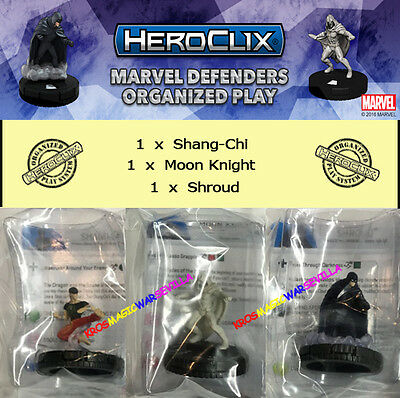 HEROCLIX MARVEL DEFENDERS MONTHLY OP KIT 2016 - Shang-Chi + Moon Knight + Shroud
