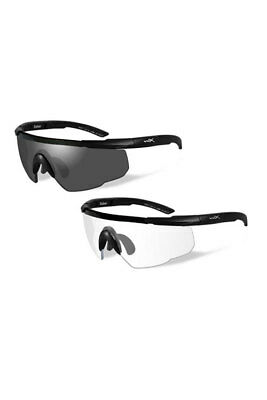 bbdf17a7eb Wiley X Saber Advanced Grey Clear Lens Matte Black Frame 307 Shooting  Glasses