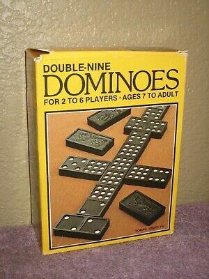 Vintage Dominoes (55) Plastic Double-Nine 1989 by Western Pub. & Instructions