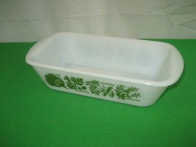 Vintage Glasbake Bread Loaf Baking Dish White with Green Herbs 1 1/2 Quarts