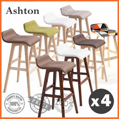 """4 x """"Ashton"""" Wooden Bar Stools Kitchen Dining Chairs Leather Plywood White Brown"""