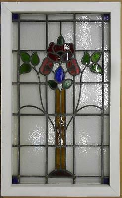"LARGE OLD ENGLISH LEADED STAINED GLASS WINDOW Stunning Floral 21.5"" x 35.25"""