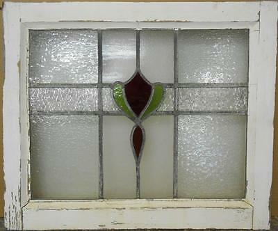 "OLD ENGLISH LEADED STAINED GLASS WINDOW Pretty Floral Design 21.5"" x 18"""