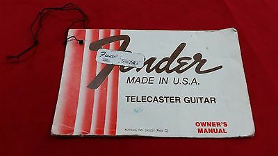 1978 Usa Fender Telecaster Guitar Hang Tag Owners Manual Case Candy 1979