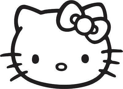 HELLO KITTY FACE WITH BOW VINYL DECAL *FREE SHIPPING* 6 INCH FOR INDOOR//OUTDOOR