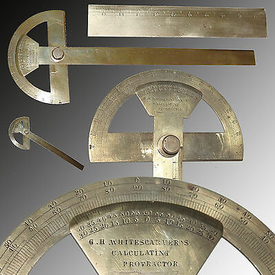Ultra Rare Brass Calculating Protractor By G.h. Whitescarver's 1 Of 2 That Exist