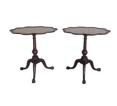 Elegant Pair of Antique Mahogany Pie Crust Side Tables Lamp Tables