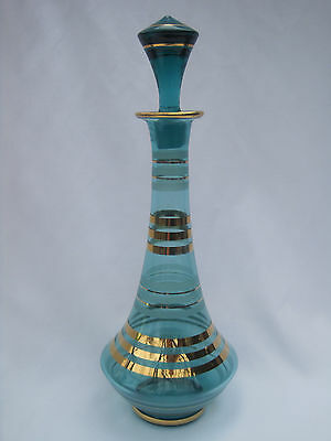Tall Green Art Glass Decanter with Gold Stripes and Etched Stripes