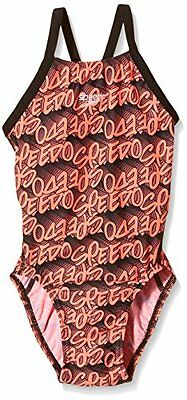 Speedo Alv Prt Rlbk Jf Costume, Bambina, Multicolore (Black/Red), 24