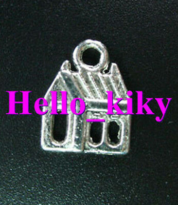 50 Tibetan silver crafted house charms 17x13mm A970