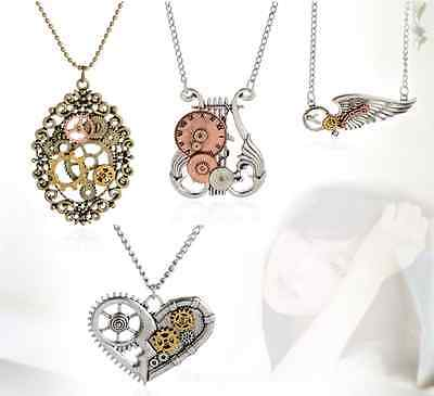 Retro Vintage Steampunk Jewelry Machinery Gear Pendant Necklace Choker Chain