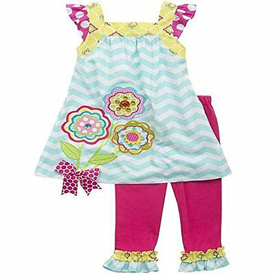 Rare Editions bambini estate tunica vestito + ruches Leggings pantaloni bambina