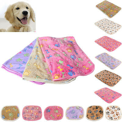 Pet Small Large Paw Print Cat Dog Puppy Soft Blanket Bed Cushion Coral cashmere