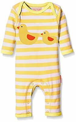 Toby Tiger - Duckling Applique Sleepsuit, Pigiama unisex bimbi, Yellow/White, 6-