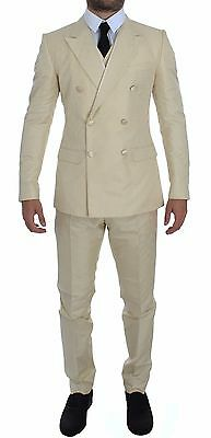 DOLCE & GABBANA Cream White Double Breasted 3 Piece Suit EU52 /US42/XL RRP $3200