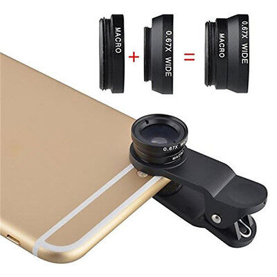 for Cell Phone Universal 3in1 Clip On Camera Lens Kit Fisheye +Wide Angle +Macro