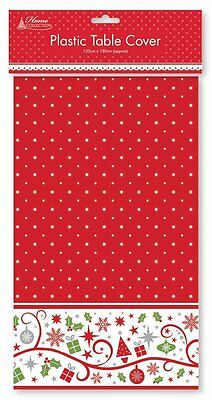 Red Plastic Table Cover Christmas Dinner Decoration Traditional Party Xmas