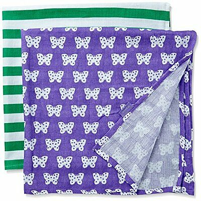 Toby Tiger Butterfly Muslin Two Pack, Sciarpa Bimbo, Purple (Purple/Green/White)