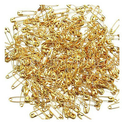 300X Small Safety Pins Gold Color 18mm Brass Metal Sewing Craft Mini Pins DW