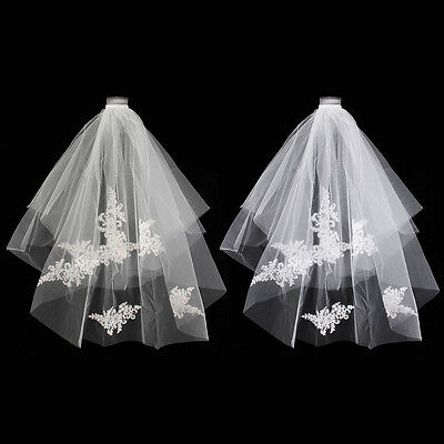 Beautiful 2T Wedding Bridal Long Veil Elbow Lace Edge With Comb White/Ivory