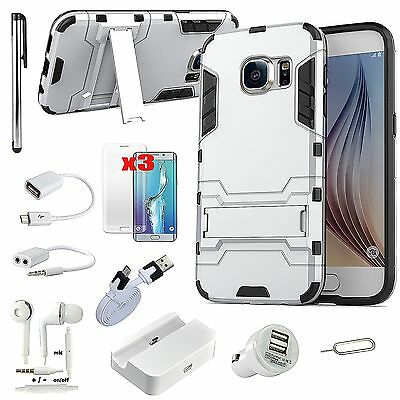 Sliver Kickstand Case Charger Earphones Accessory For Samsung Galaxy S7 Edge