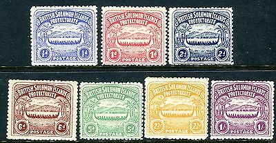 BRITISH SOLOMON ISLANDS-1907 Large Canoes mounted mint set to 1/ 2½d & 5d Sg 1-7