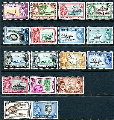 BRITISH SOLOMON ISLANDS-1956-63 An unmounted mint set to £1 Sg 82-96