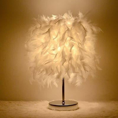 New Feather Shade Lamp Metal Vintage Noble Table Bedside Night Light Home Decor