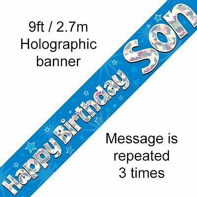 happy birthday party son foil holographic banner decoration 2.7m pack of 1