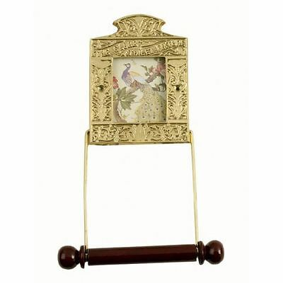 Solid Brass and Wood Globe Toilet Roll Holder Fixture