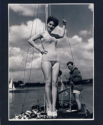 Mode JUNGE FRAU IM BADEANZUG BEACH BEAUTY Fashion * Vintage 50s SEUFERT Photo