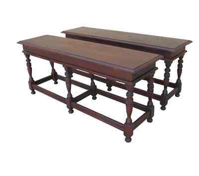 Pair of English Antique Walnut Benches Antique Furniture