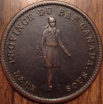 1837 Br.521 Lower Canada One Penny Quebec Bank Token Superb Condition !!!