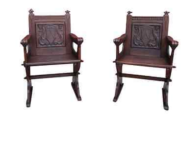 Pair of French Antique Gothic Chairs Armchairs Antique Furniture