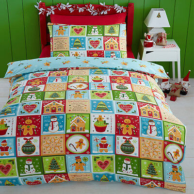 Kids Club Christmas Jolly Gingerbread Reversible Duvet Cover Set, Multi