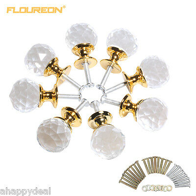 Floureon 8x 25MM Clear Crystal Glass Door Knob Cabinet Drawer Furniture Handle