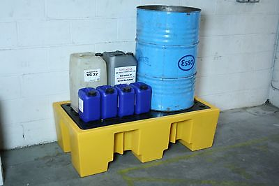 Ecosure 2 Drum Plastic Bunded Spill Containment Sump Pallet with Removable Grid